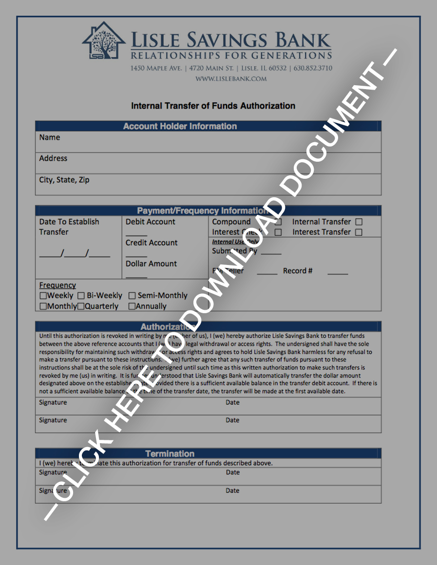 internal transfer of funds authorization form